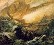 Schilderij van de Vliegende Hollander door Albert Pinkham Ryder